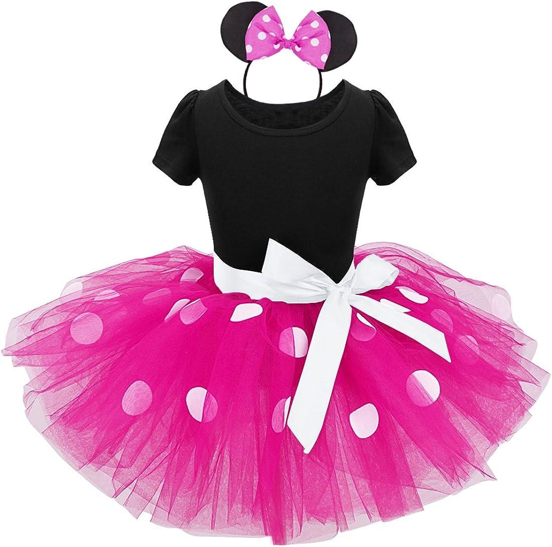 iiniim Tutú Vestidos de Princesa Diadema Niña Bebé Disfraces Fantasía Fiesta Bautizo Ballet Danza Falda Lunares con Braga Carnaval Cumpleaños Baile Infantil 12 Meses - 8 Años