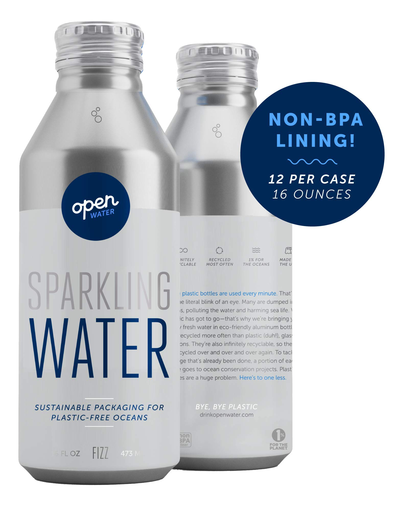 Open Water Sparkling Bottled Water with Electrolytes in 16-oz Aluminum Bottles (4 Cases, 48 bottles - Sparkling) | BPA-free and Eco friendly by Open Water