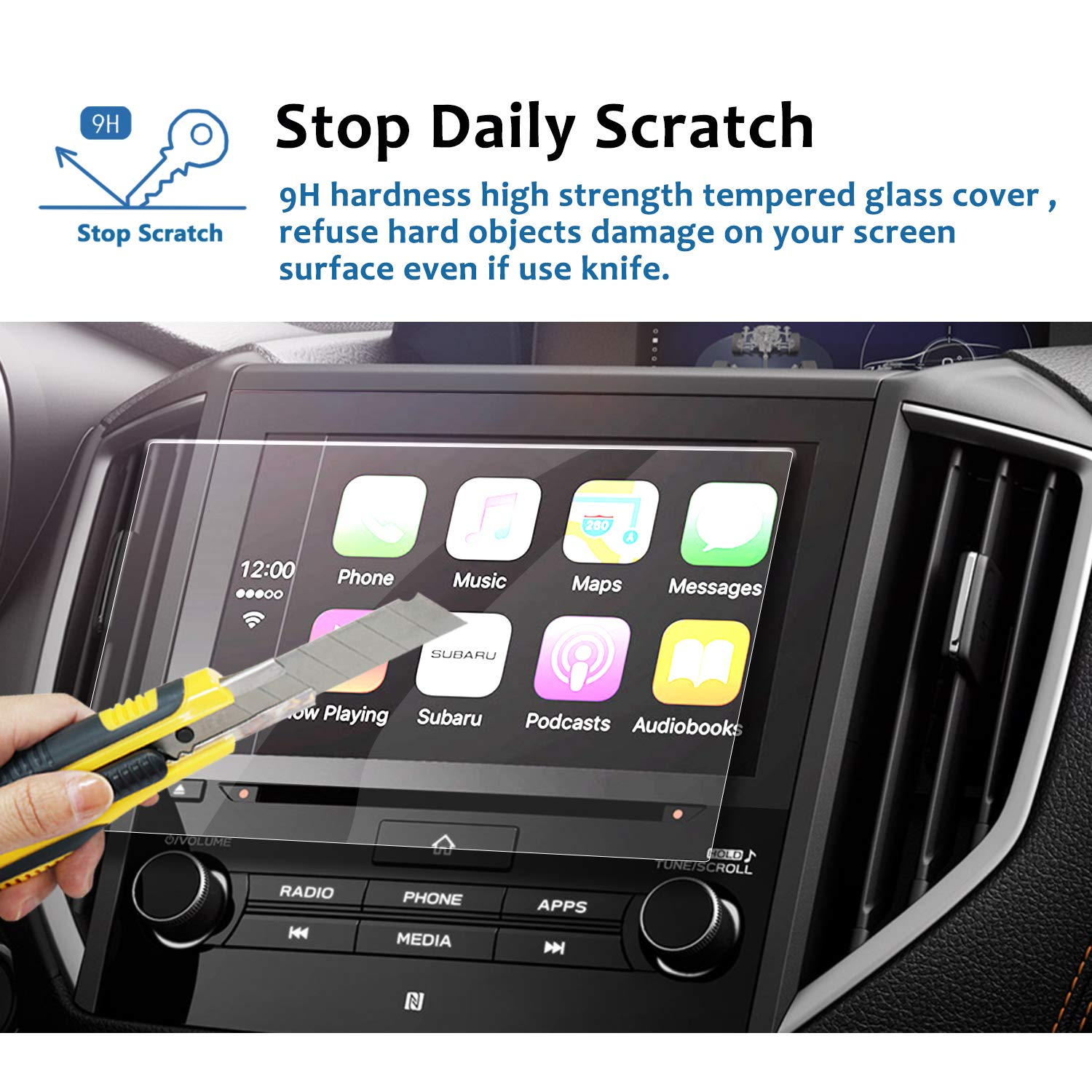 Tempered Glass Infotainment Center Touch Display Screen Protector Anti Scratch High Clarity LFOTPP 2018 Subaru Crosstrek Impreza Starlink 6.5 Inch Car Navigation Screen Protector, 9H