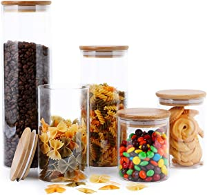 Focus Line Glass Food Storage Jars Containers, High Borosilicate Glass Cookies Jars with Bamboo Lid Set of 5, Airtight Canisters For Coffee, Flour, Sugar, Candy, Cookie, Spice