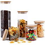 FOCUSLINE 5 Pack Glass Kitchen Canister Set, Clear Glass Food Storage Jars with Airtight Bamboo Wooden Lid For Flour, Sugar,