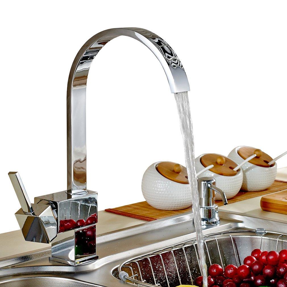 Auralum® Design Rubinetto Alta C-Beccuccio Miscelatore Lavello della Cucina Mano Da Cucina Miscelatore Temtop