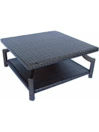 Dola Patio Square Coffee Table Double Dark Espresso Brown Wicker Measuring  35 X 35 X 16