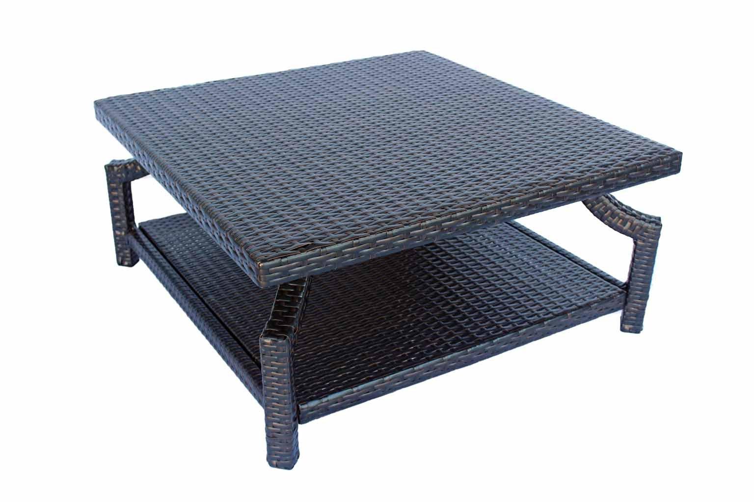 Dola Patio Square Coffee Table Double Dark Espresso Brown Wicker Measuring 35 x 35 x 16-Inches. Patio Furniture Coffee Table With 2 Shelves (Dark Brown)