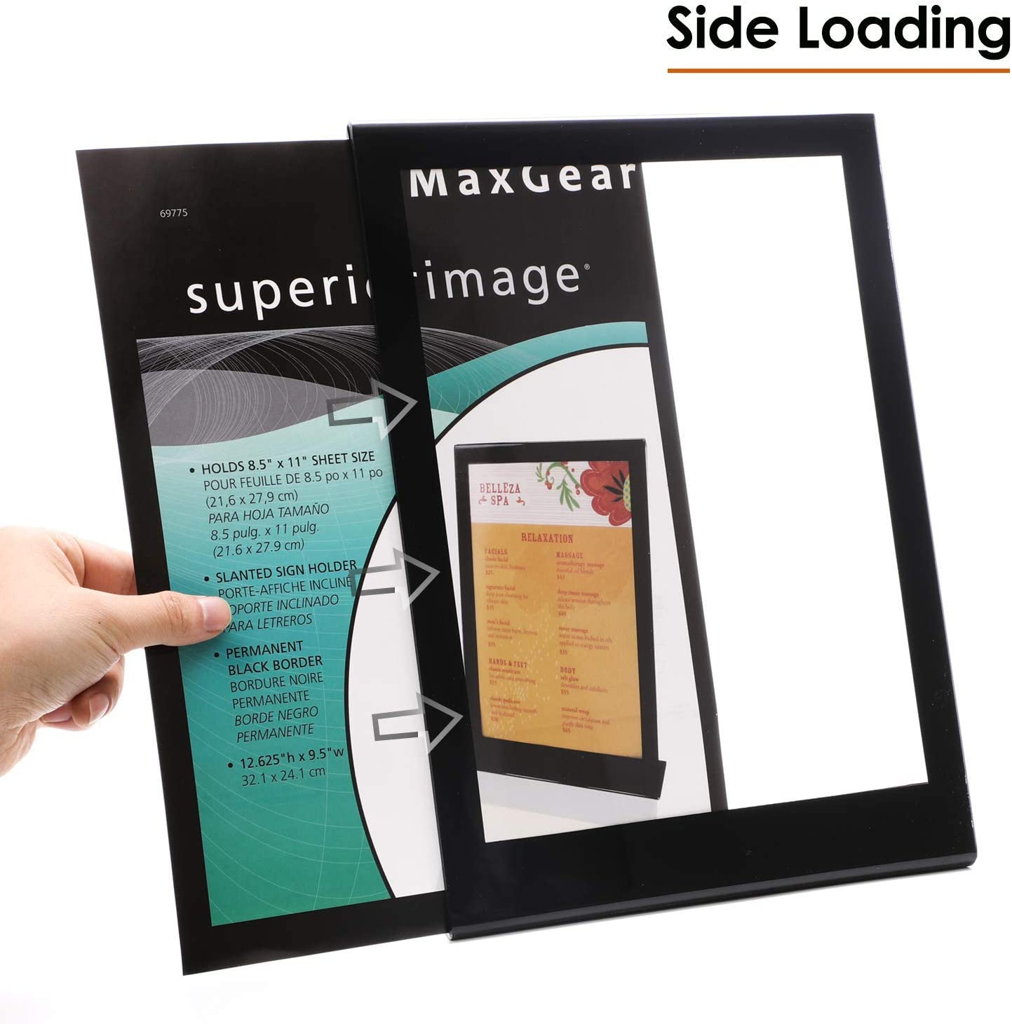 Acrylic Sign Holders Table Top Sign Holder Restaurant Home Clear Acrylic Stand Holder 8.5 X 11 inches Store MaxGear Sign Holder Display Stand Ad Frame for Office