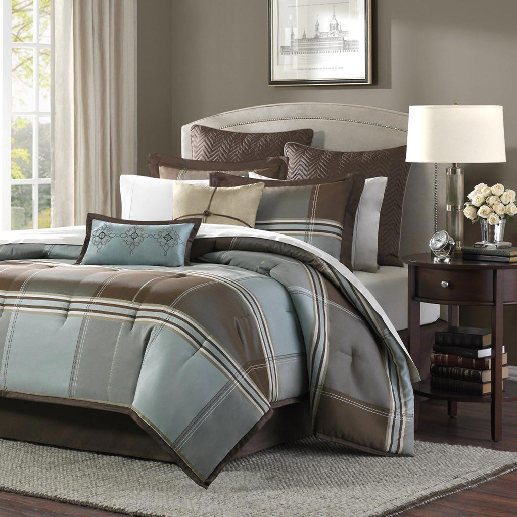 8 Piece Comforter Set, Queen, Blue/Brown