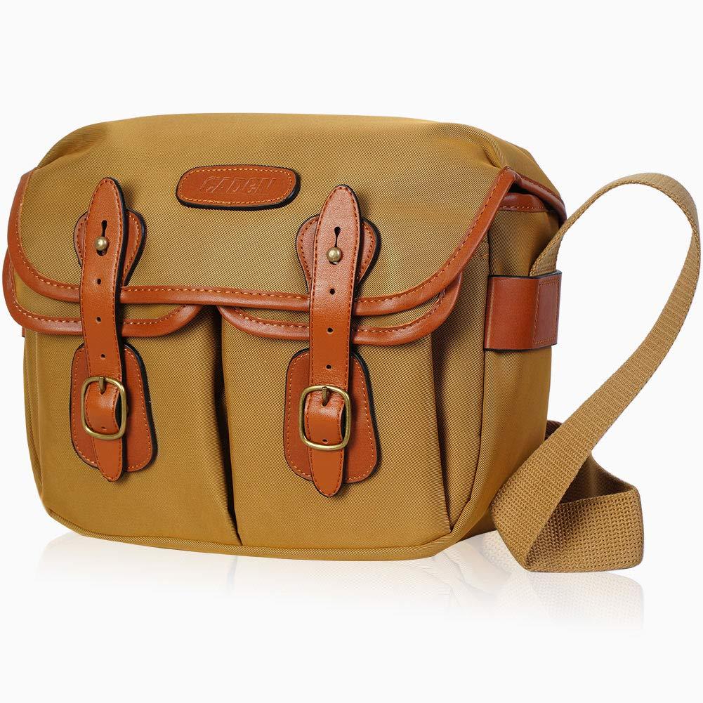 CADeN Canvas Camera Bag Vintage Large Messenger Shoulder DSLR SLR Camera Case With Removable Insert, Waterproof Shockproof Hadley One Pro Casual College School Travel Bag For Women (L)