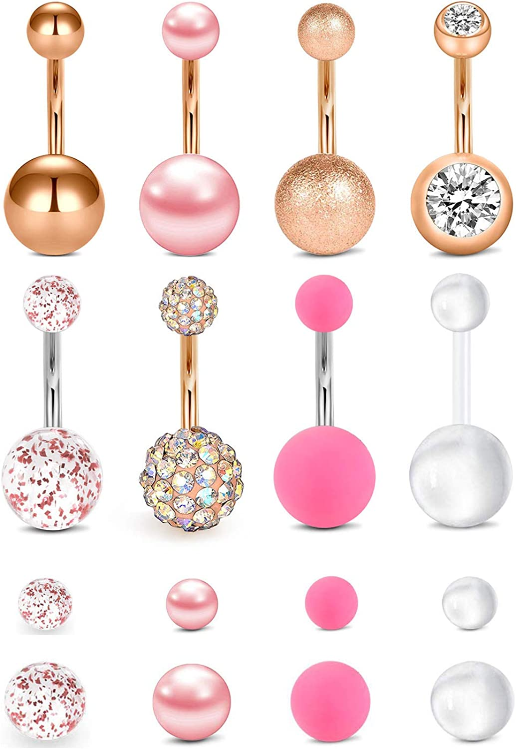 PRETTY PINK CUBIC ZIRCONIA DOUBLE HEART NAVEL BELLY PIERCING RING 12MM BAR