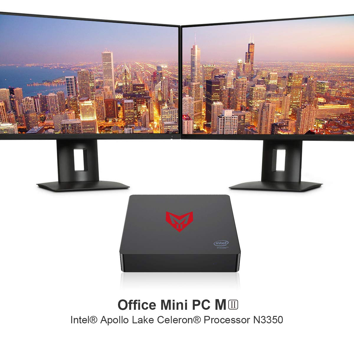 SeeKool MII Mini PC Ordenador de sobremesa, Full 4K HD H.265 Soporte Windows 10 Mini ordenador, 4GB+64GB, Apollo Lake N3350 Procesador, Dual-Band WiFi, ...