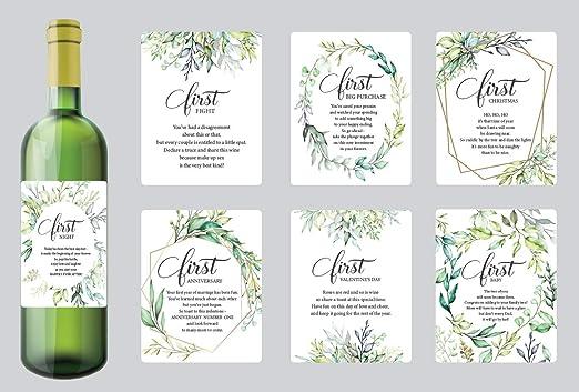 Juego de 7 etiquetas para botella de vino, diseño de hito de boda ...