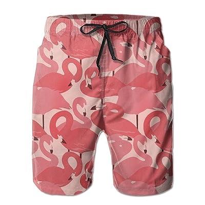 LORVIES Mens Pink Flamingo Pattern Beach Board Shorts Quick Dry Swim Trunk