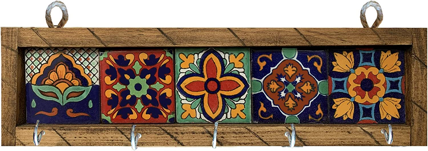 Mexican Fiesta Designs Mexican Key Holder with Metal Hooks and Colorful Talavera Tiles - 5 Different Mexican Styles - Talavera Wall Art - Mexican Home Decor - Portallaves de Casa Multi 5 Azulejos