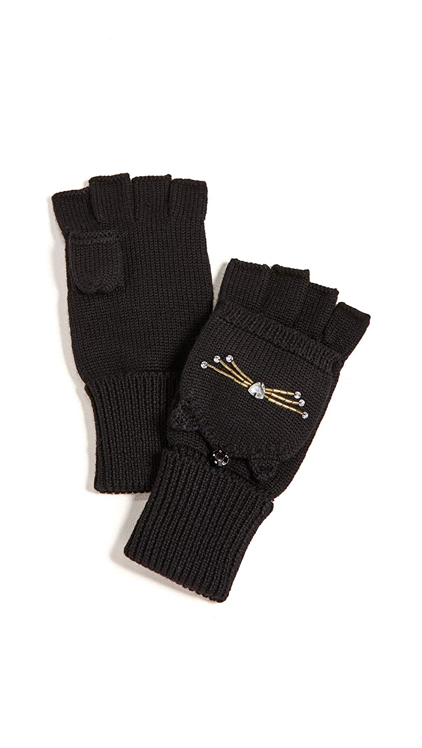 Kate Spade New York Women's Embellished Cat Pop Top Mittens Black One Size