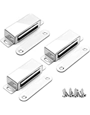 Smooth Cupboard Magnets, Onehous 20kg Pull Cabinet Cupboard Magnetic Door Catch Latch with 12 Screws,304 Stainless Steel Door Magnet for Home Furniture, Wardrobe,Kitchen (3 Pack)