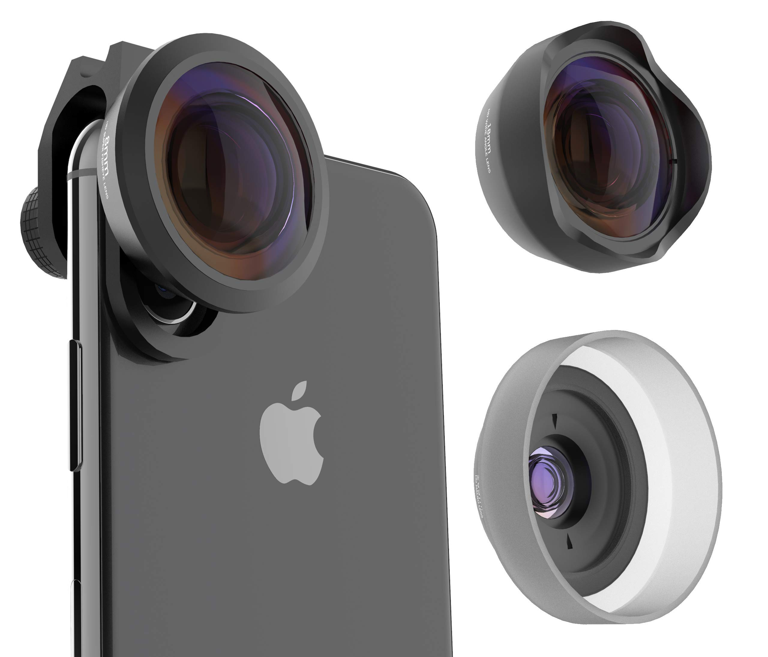 Phone Camera Lens Kit by PuzzleK, Upgraded 3 in 1 Professional Lenses, 20X HD Macro, 120° Wide Angle, 238° Fisheye, Compatible on iPhone X 8 7 6s Plus, Samsung Galaxy, Pixel and OnePlus Cell Phones