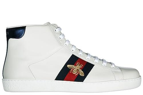 a8cc8e06749f1 Gucci Scarpe Sneakers Alte Uomo in Pelle Nuove Bianco  Amazon.it  Scarpe e  borse