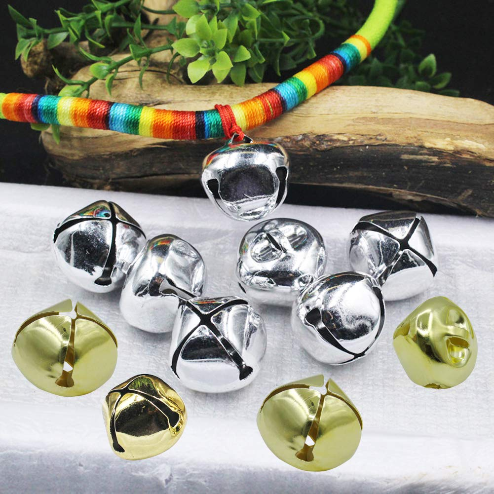 100 Pieces 1 Inch Jingle Bells Gold and Silver Craft Bells Christmas Jingle Bell for Craft Festival Decoration