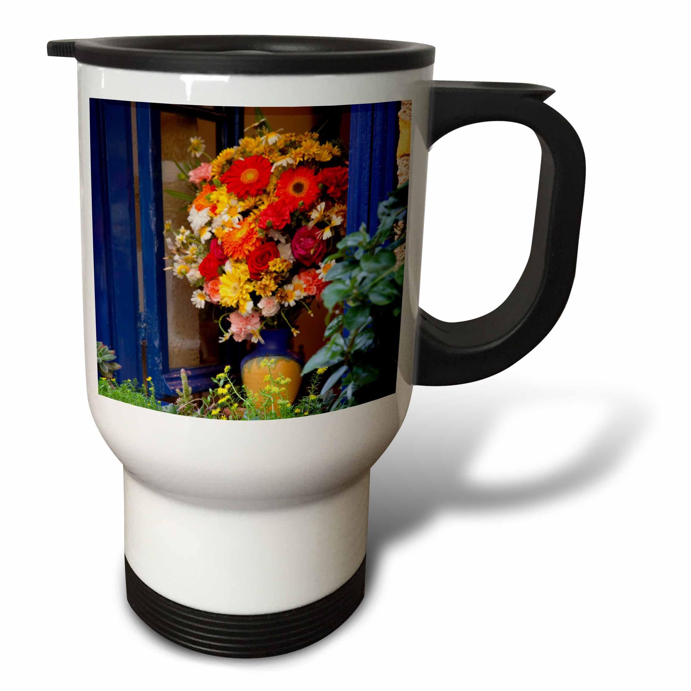 3dRose Danita Delimont - Flowers - Greece, Crete, Chania, Window in Chania - 14oz Stainless Steel Travel Mug (tm_277430_1)