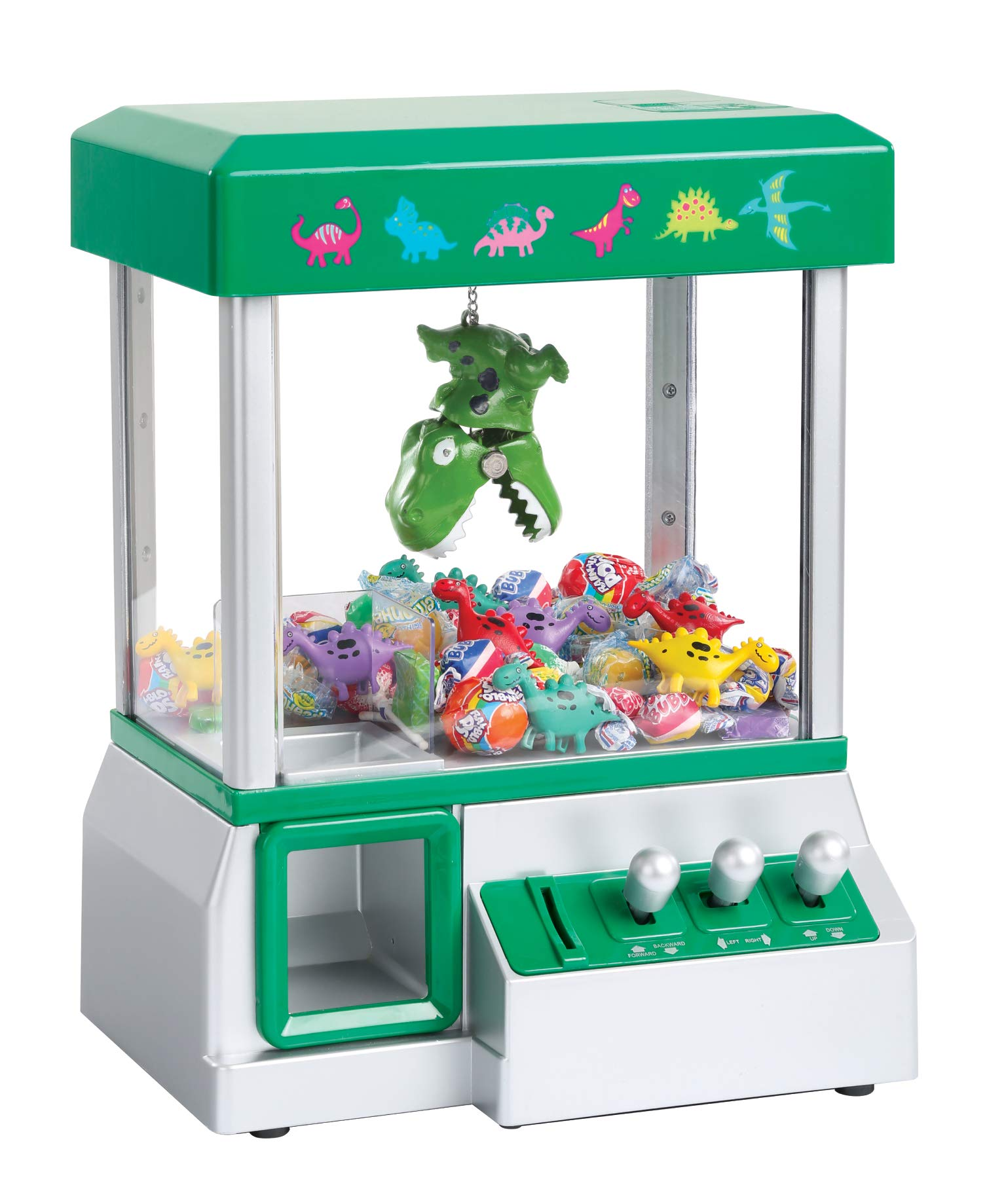 Claw Machine - Arcade Mini Toy Grabber Machine for Kids - Candy Machine- Retro Carnvial Music & Flashing Lights- Best Birthday Gift Game. Use Gumballs, Candy, Toys, or Small Prizes (Green) by Define Essentials