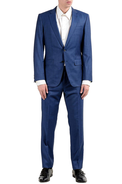 "Hugo Boss /""Huge6//Genius5/"" Men/'s 100/% Wool Slim Blue Two Button Suit"