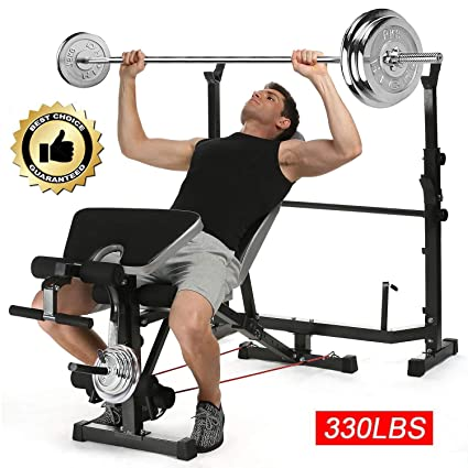 abd8ce92fdb915 Fast88 Adjustable Olympic Weight Bench and Power Tower Workout Dip Station  with Leg Developer for Weight Lifting and Strength Training and Squat Rack  Stand ...