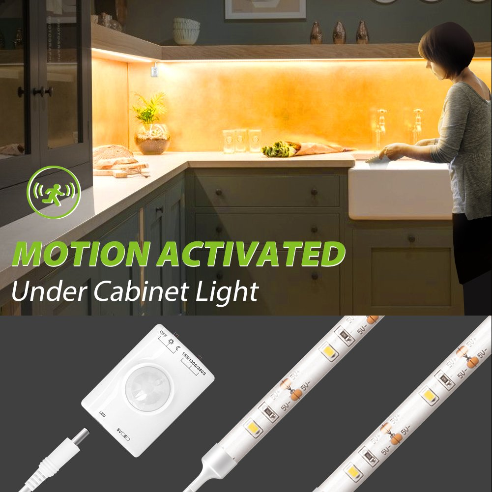 Motion Activated Kitchen Under Cabinet Light, Megulla Motion Sensor Night Light -39in, USB Rechargeable Battery, Stick Anywhere, Auto Shut Off Timer- for Kitchen Cabinets, Pantry -1Pack, Warm White