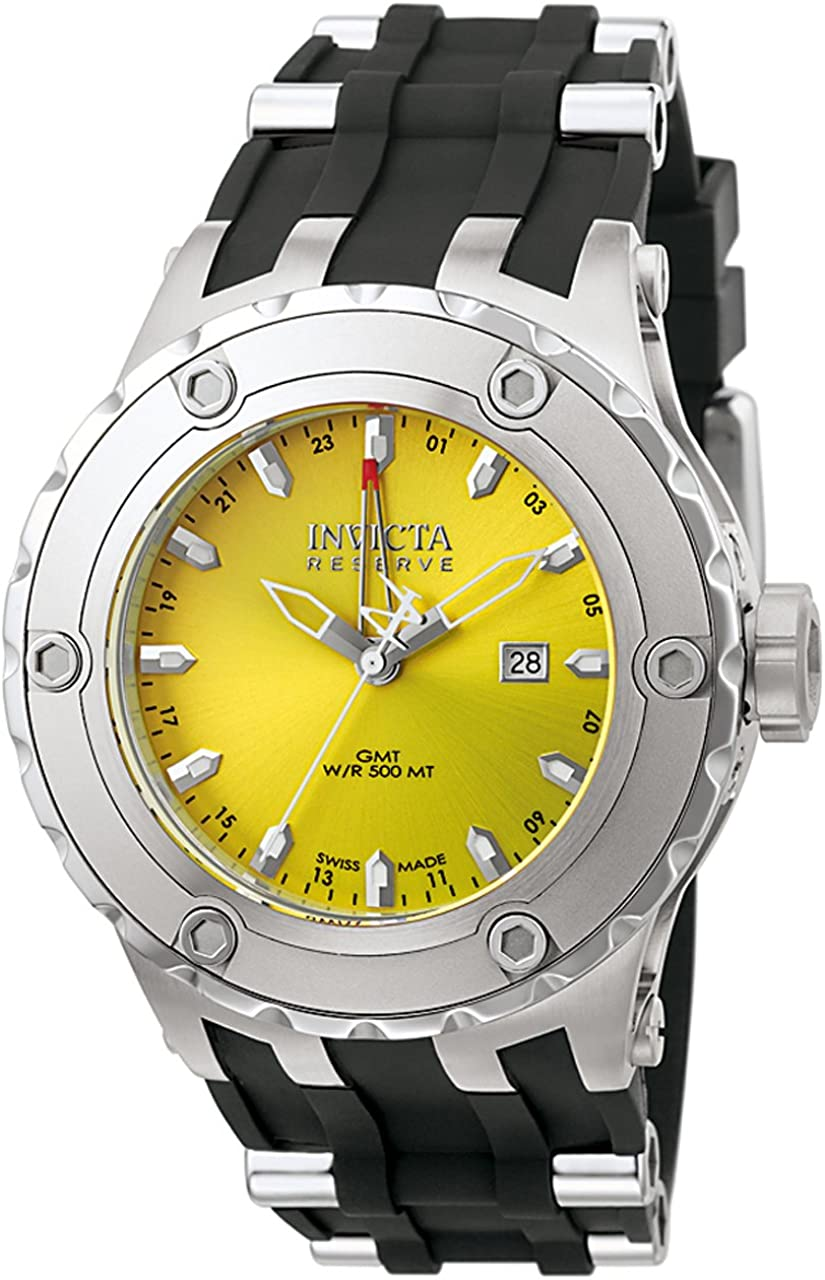 Invicta Men s 6183 Reserve Collection GMT Stainless Steel Black Rubber Watch