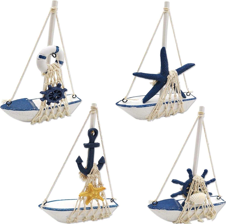 TIHOOD 4PCS Mini Sailboat Model Decoration Wooden Miniature Sailing Boat Home Decor Set, Beach Nautical Design, Navy Blue and White, 4.4 x 6.8 Inch