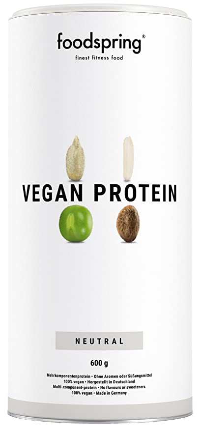foodspring Proteínas Vegetales, Neutro, 600g, 100% proteína vegetal, Fabricada en Alemania