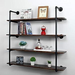 MBQQ Industrial Retro Pipe Shelf 44in 4 Tier Wall Mounted,Rustic Floating Shelves,Farmhouse Kitchen Bar Shelving,Home Decor Book Shelves,DIY Bookshelf Hanging Wall Shelves,Black