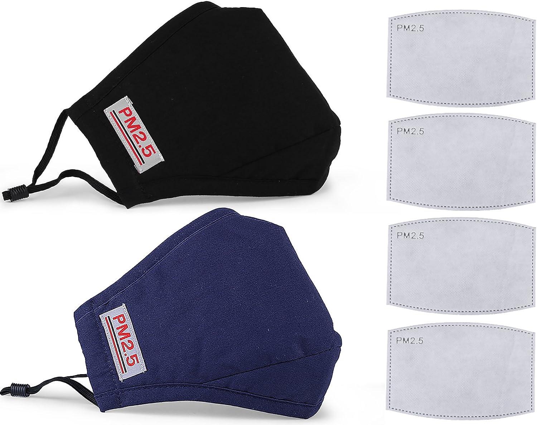 COAFIT 2 piezas máscara bucal ajustable a prueba de polvo PM2.5 filtro de carbón activado máscara bucal de algodón