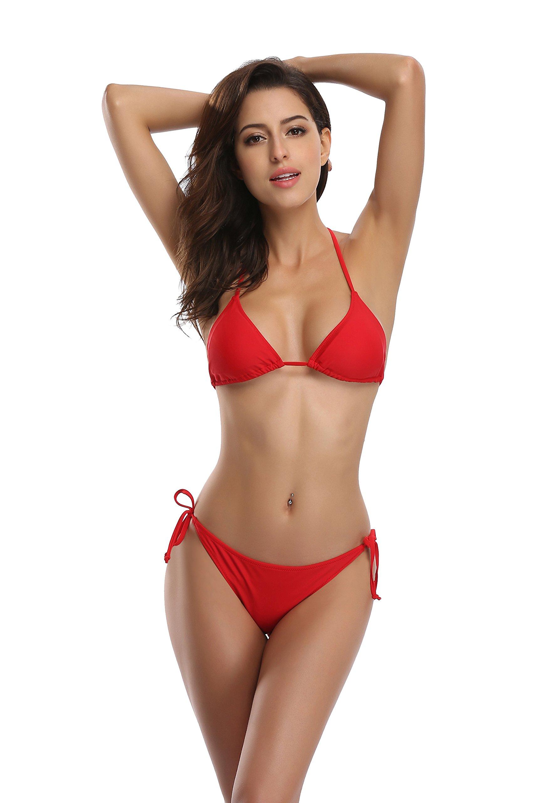 SHEKINI Women's Tie Side Bottom Push up Padded Top Triangle Bikini Bathing Suit (Rose red, Small)