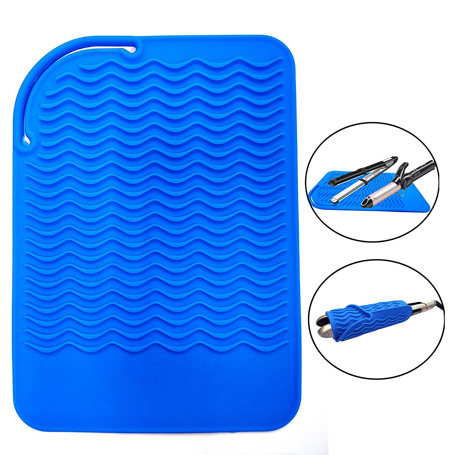 """Heat Resistant Mat for Curling Irons, Hair Straightener, Flat Irons and Hair Styling Tools 9"""" x 6.5"""", Food Grade Silicone, Blue"""