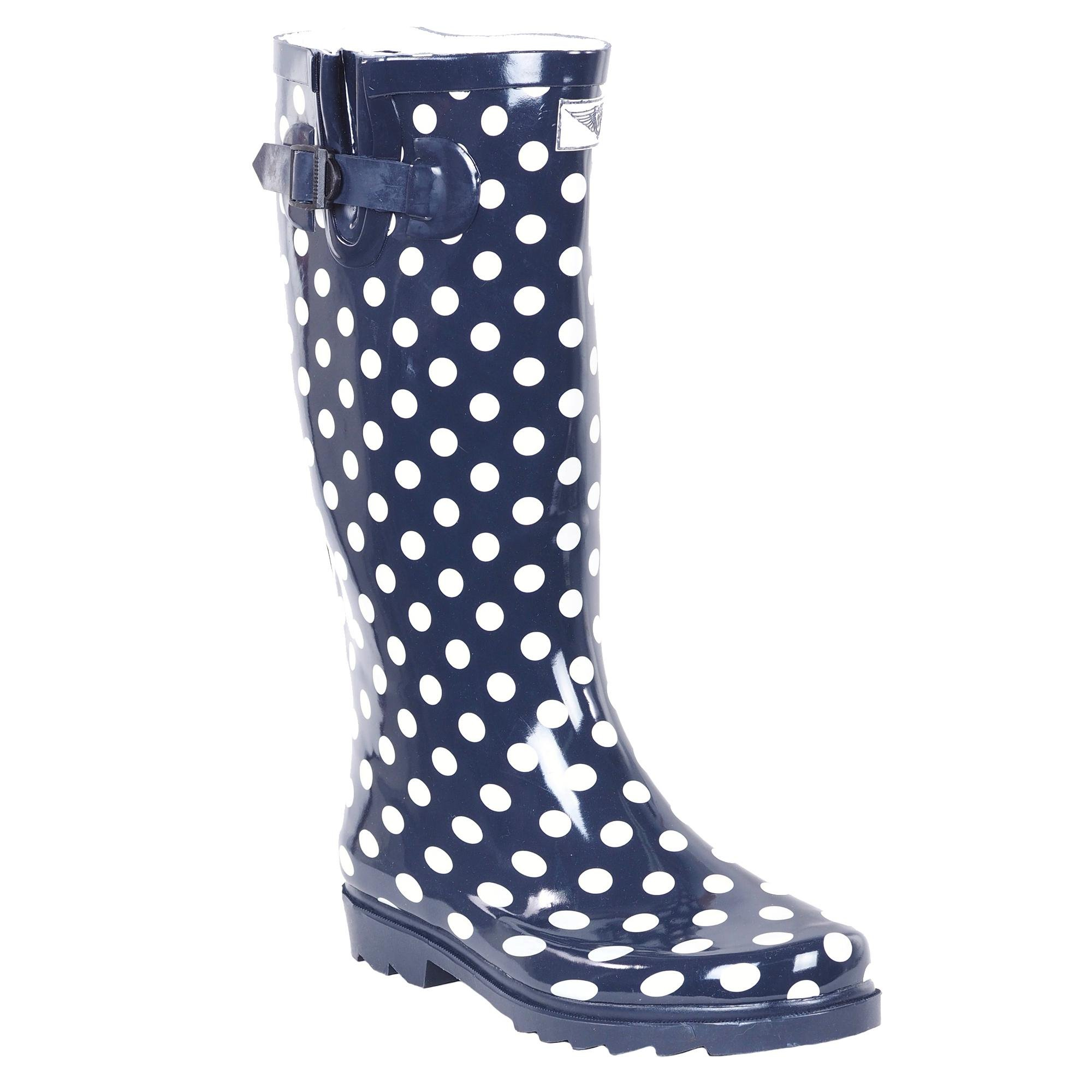 Forever Young Women's Polka-Dot Print Rubber Rain Boots, 10, Navy