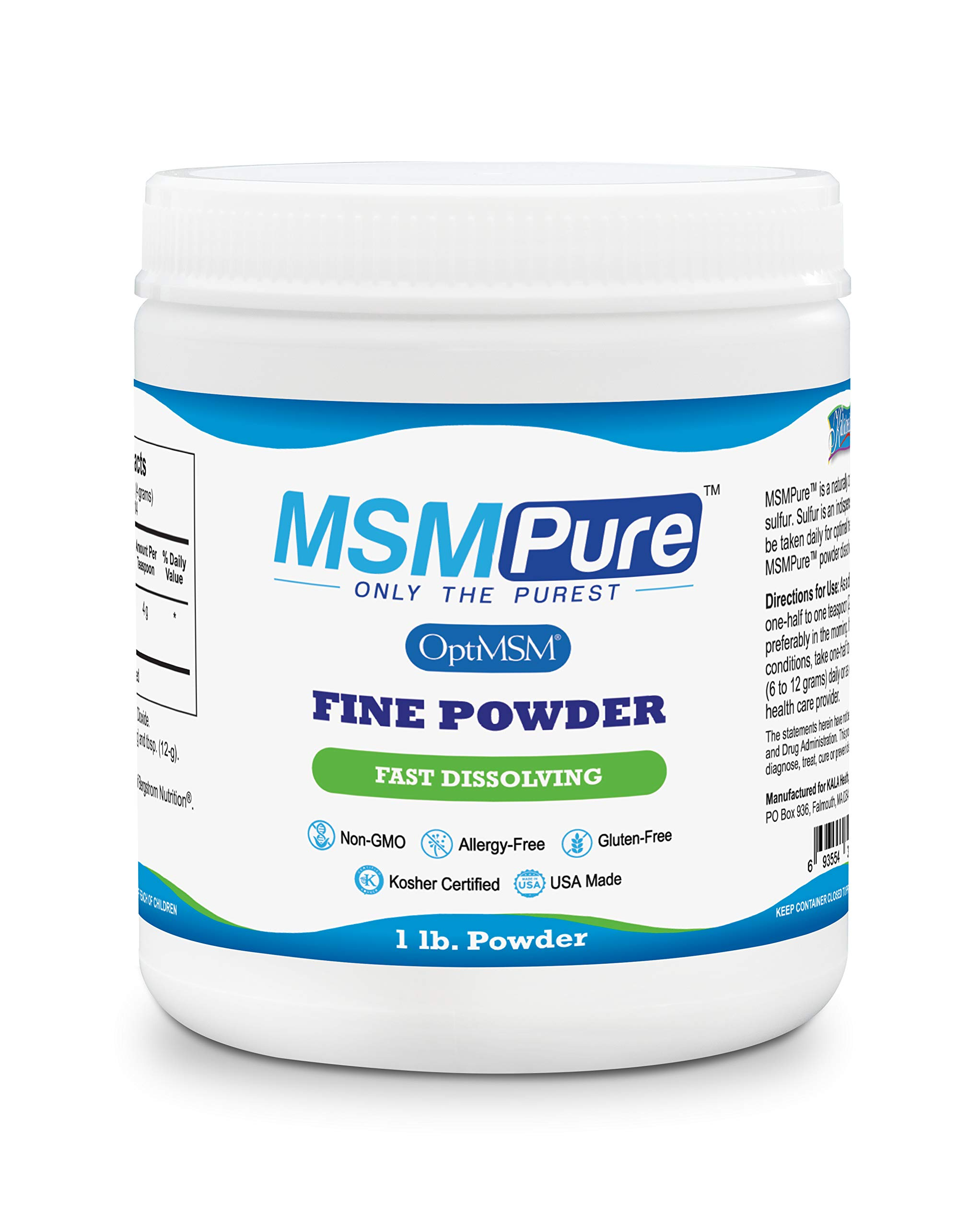 Kala Health MSMPure Fine Powder, Fast Dissolving Organic Sulfur Crystals, 99% Pure Distilled MSM Supplement, Made in USA, 1 lb by Kala Health