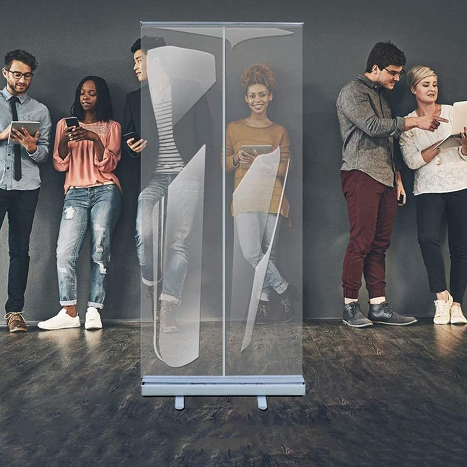 HXFAFA Floor Standing Sneeze Guard,Portable Partition Dividers Clear Screens Sanitation Walls/Great for Offices, Salons, Clinics, Nail Salons, and Restaurants
