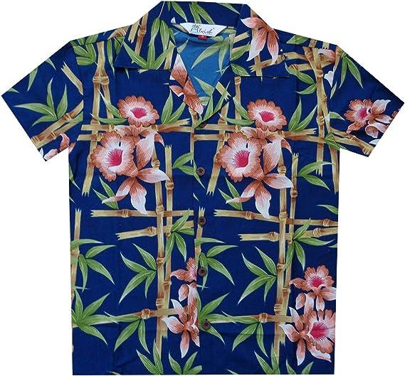 Camisas hawaianas para niños con flores de bambú, playa, aloha casual, fiesta de vacaciones: Amazon.es: Ropa y accesorios