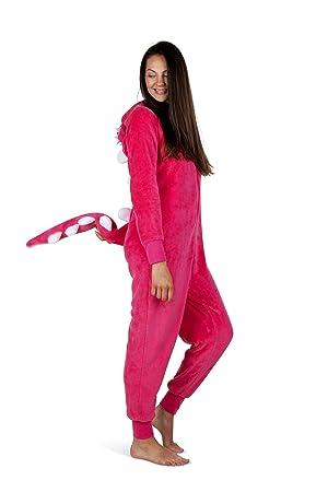 Totally Pink Women's Plush Warm Cozy Character Adult Onesies for Women One-Piece Novelty Pajamas (Medium, Dino) (Color: Dino, Tamaño: Medium)