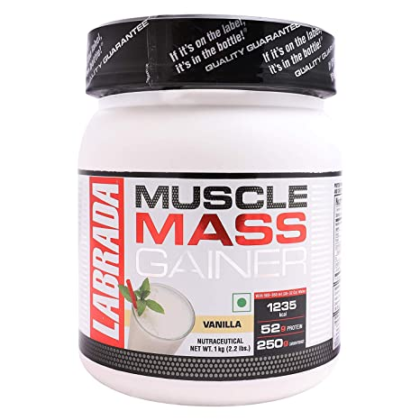 Labrada Muscle Mass Gainer, 2.2 lbs - 1 kg (Vanilla) Mass & Weight Gainers at amazon