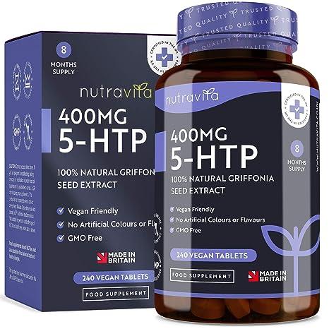 5-HTP 400 mg | 240 tabletas veganas | Suministro de 8 meses | 5htp