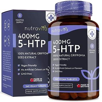 5-HTP 400 mg - 240 tabletas veganas - Suministro de 8 meses - 5htp de extracto puro de semilla de Griffonia - Hecho en el Reino Unido por Nutravita