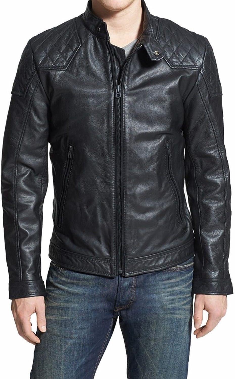brandMe Mens Genuine Leather Pure Lambskin Biker Jacket MM466