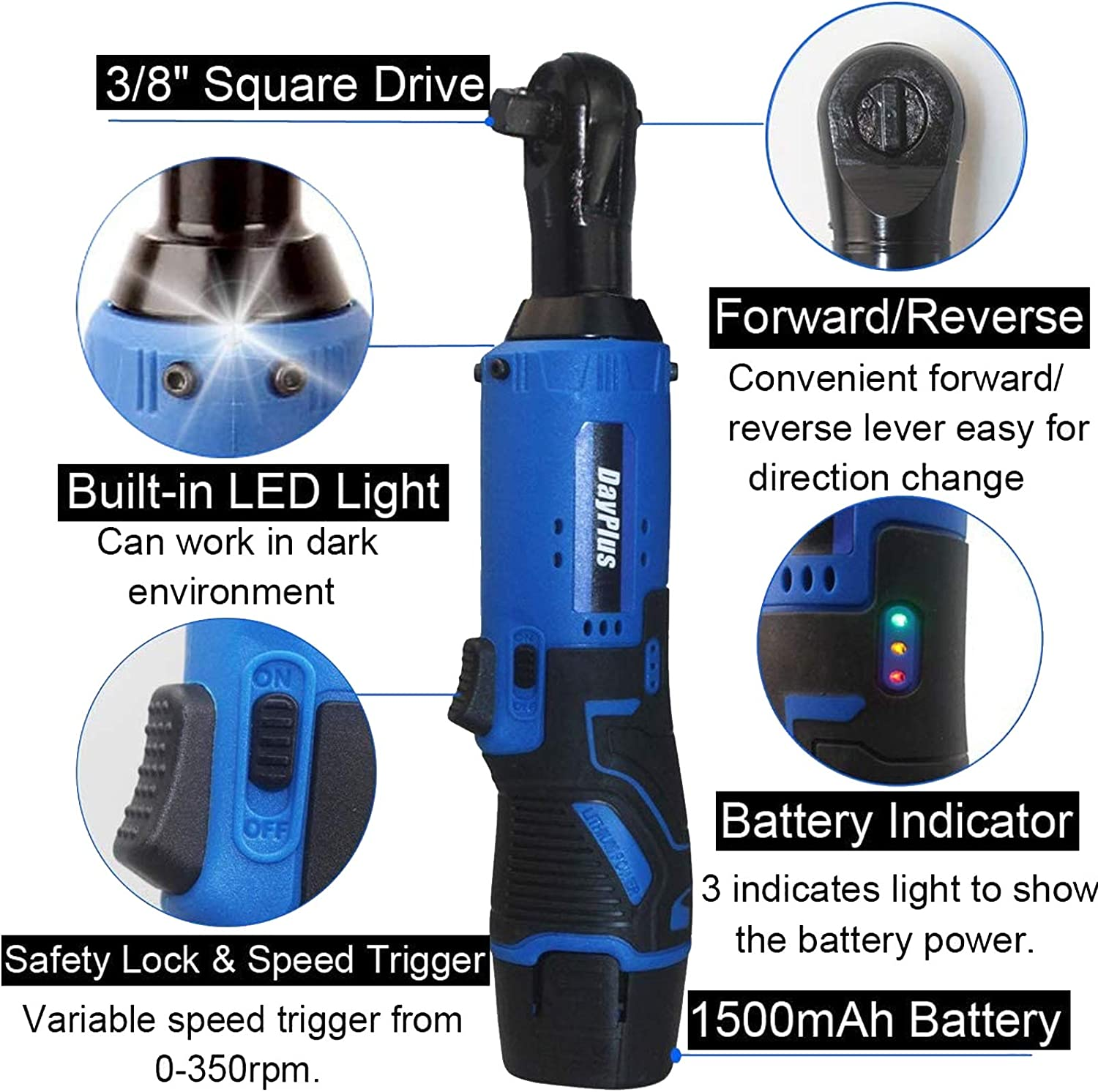 230 RPM Ratchet w//Variable Speed Trigger 3//8 12V Power Ratchet Tool Kit w// 2x 1500mAh Lithium-Ion Batteries 60-Min Fast Charge Portable Power Wrench Tool Kit Cordless Electric Ratchet Wrench Set