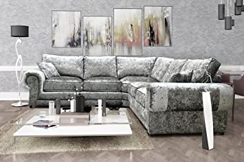 outlet store 284ce 46c9c Perla Corner Sofa 2C2 Crushed Velvet Fabric Formal Back - Silver