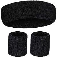 Sweatbands Set, Including Sports Headbands and Wristbands Cotton Sweat BandBands Headband Wristbands Set (2 Wrist Bands…