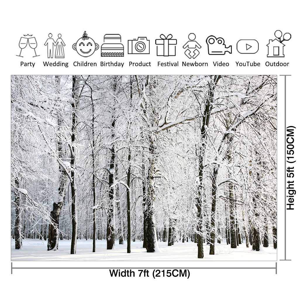 Amazoncom Allenjoy 7x5ft Winter White Snowy Forest Photography