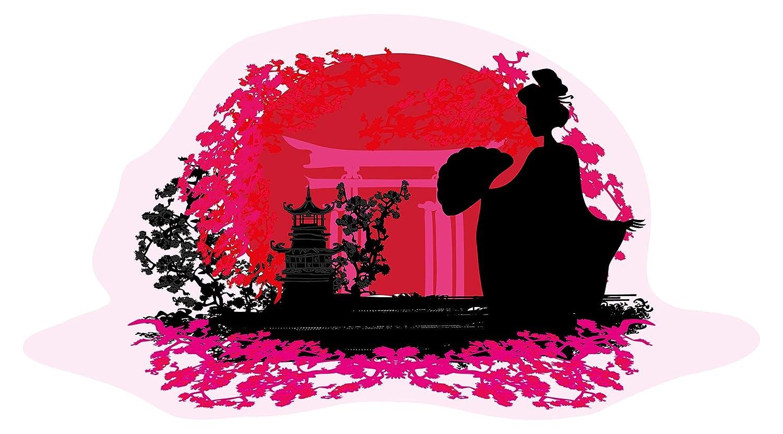 Wandtattoo Asien Geisha mit Tempel pink Wandsticker Wanddeko Wohnzimmer Deko