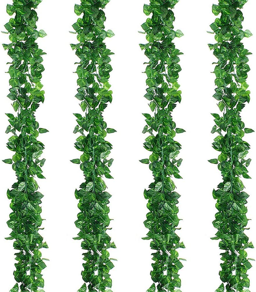 Kalolary 84Ft 12 Strands Artificial Ivy Garland Leaf Vines Plants Greenery, Fake Vine Plants Leaf Garland, Hanging for Wedding Party Home Garden Kitchen Office Wall Decor(Scindapsus Vine)