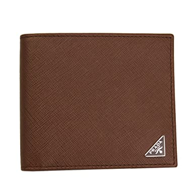 ff1307c7ad7c Prada Men's Saffiano Leather W/Triangle Logos Bi-fold Wallet 2MO513  Palissandro: Amazon.co.uk: Clothing
