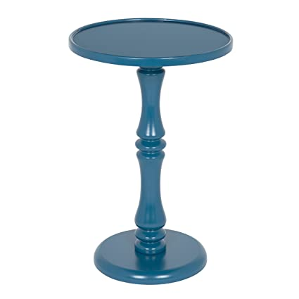 Delicieux Kate And Laurel Rumi Round Wood Pedestal Accent Table, Blue